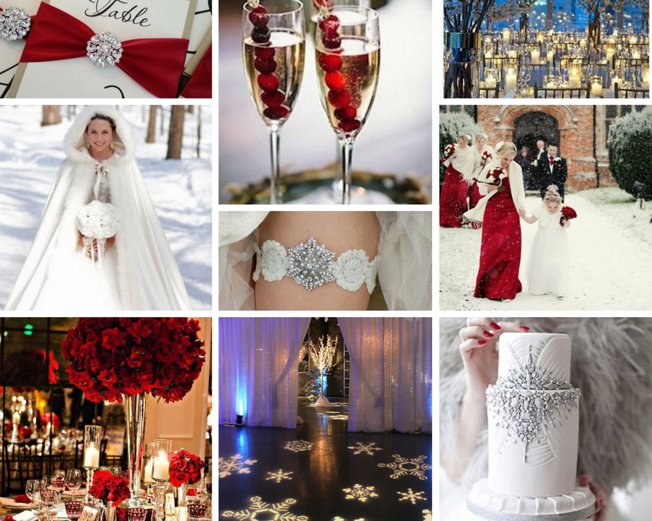 winter wedding inspiration, glam, glamorous, red
