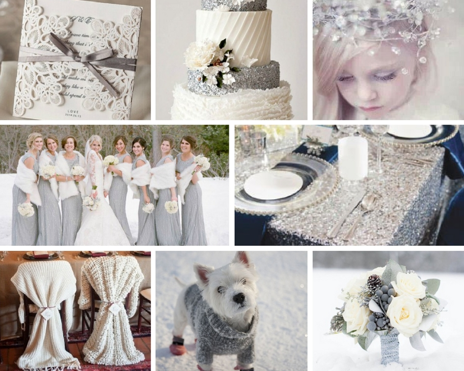 whimsical, winter wedding inspiration, silver wedding